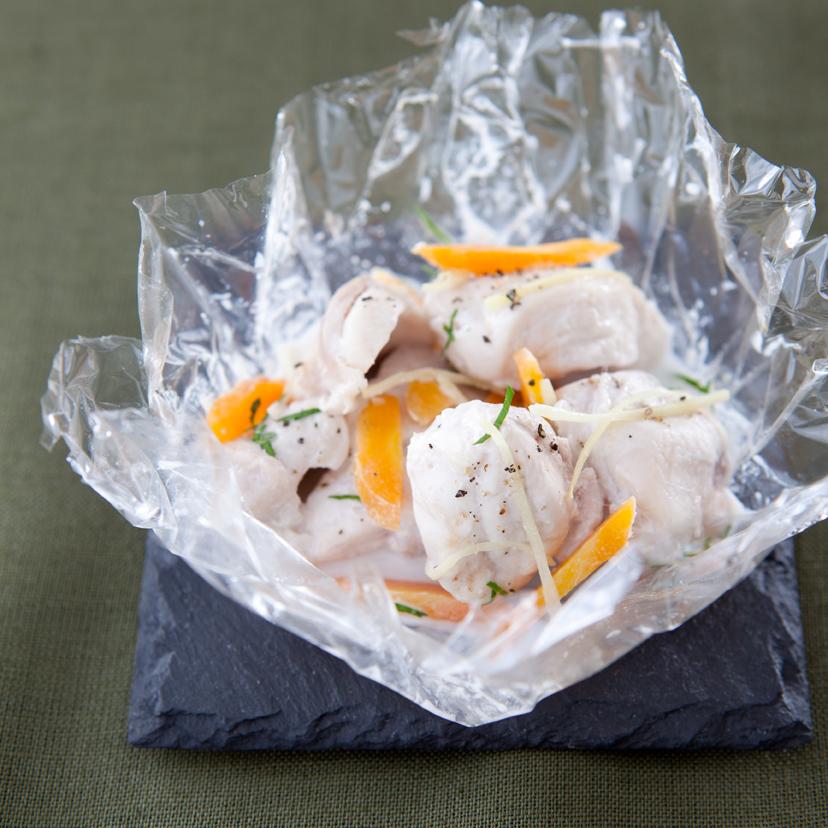 Papillote de cuisse de lapin, coco, gingembre et coriandre fraîche - 23748 -BD