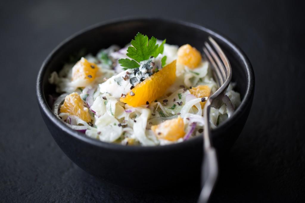 Salade de fenouil aux agrumes, vinaigrette à la Fourme d'Ambert
