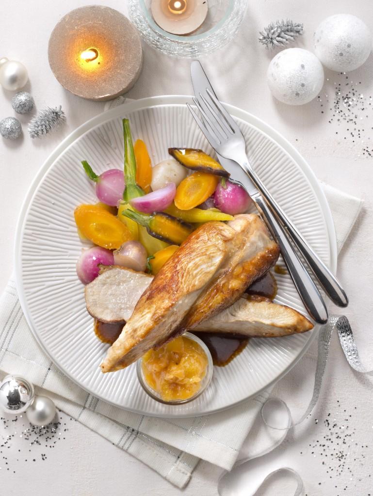 Suprême-Chapon-fermier-Label-Rouge-épices-chutney-mangue-petits-légumes-glaces RECETTE SYNALAF-2