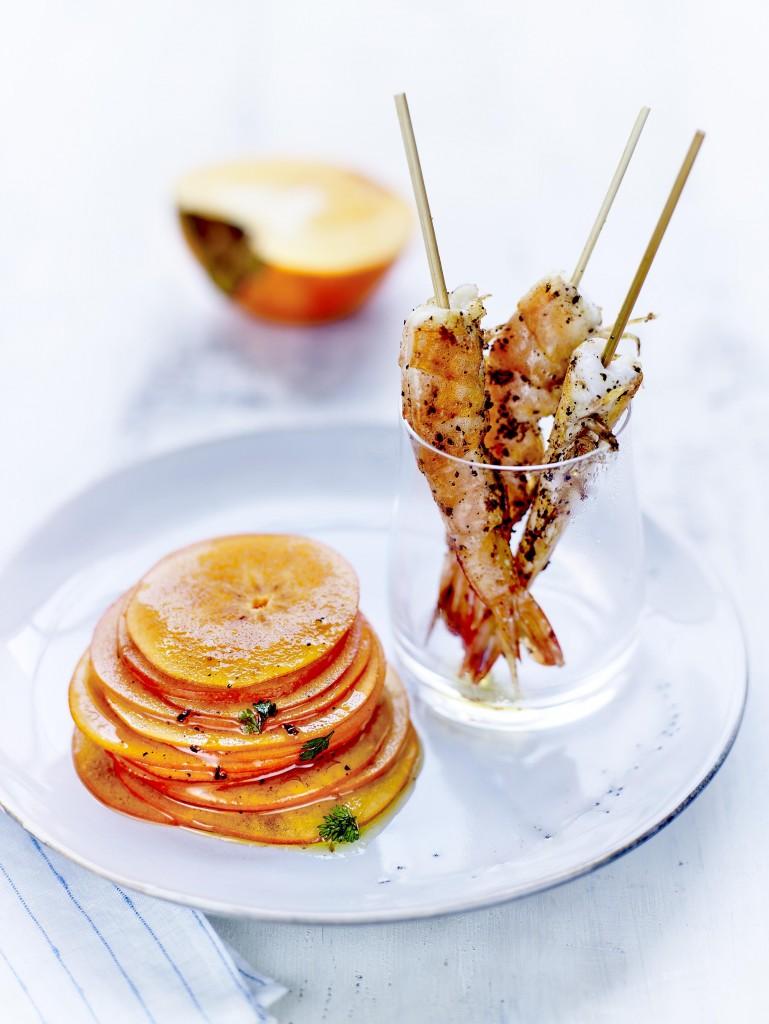 Kaki Ribera del Xuquer AOP mariné aux herbes et crevettes poêlées au poivre Sichuan