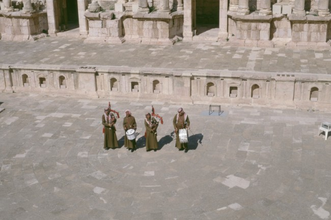 Jordanie. Jerash. Des joueurs de cornemuse.