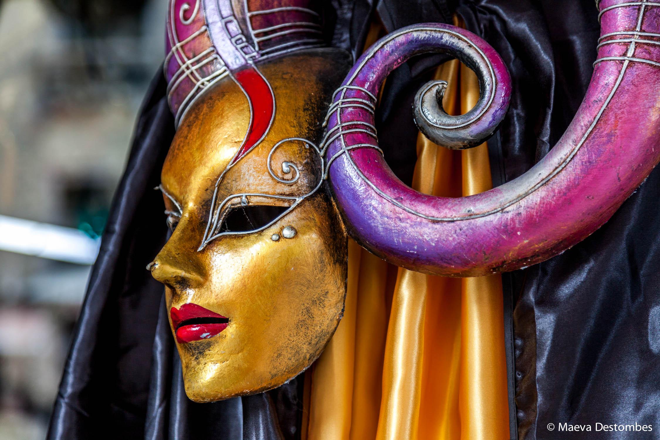 Un beau masque très coloré au carnaval de Venise