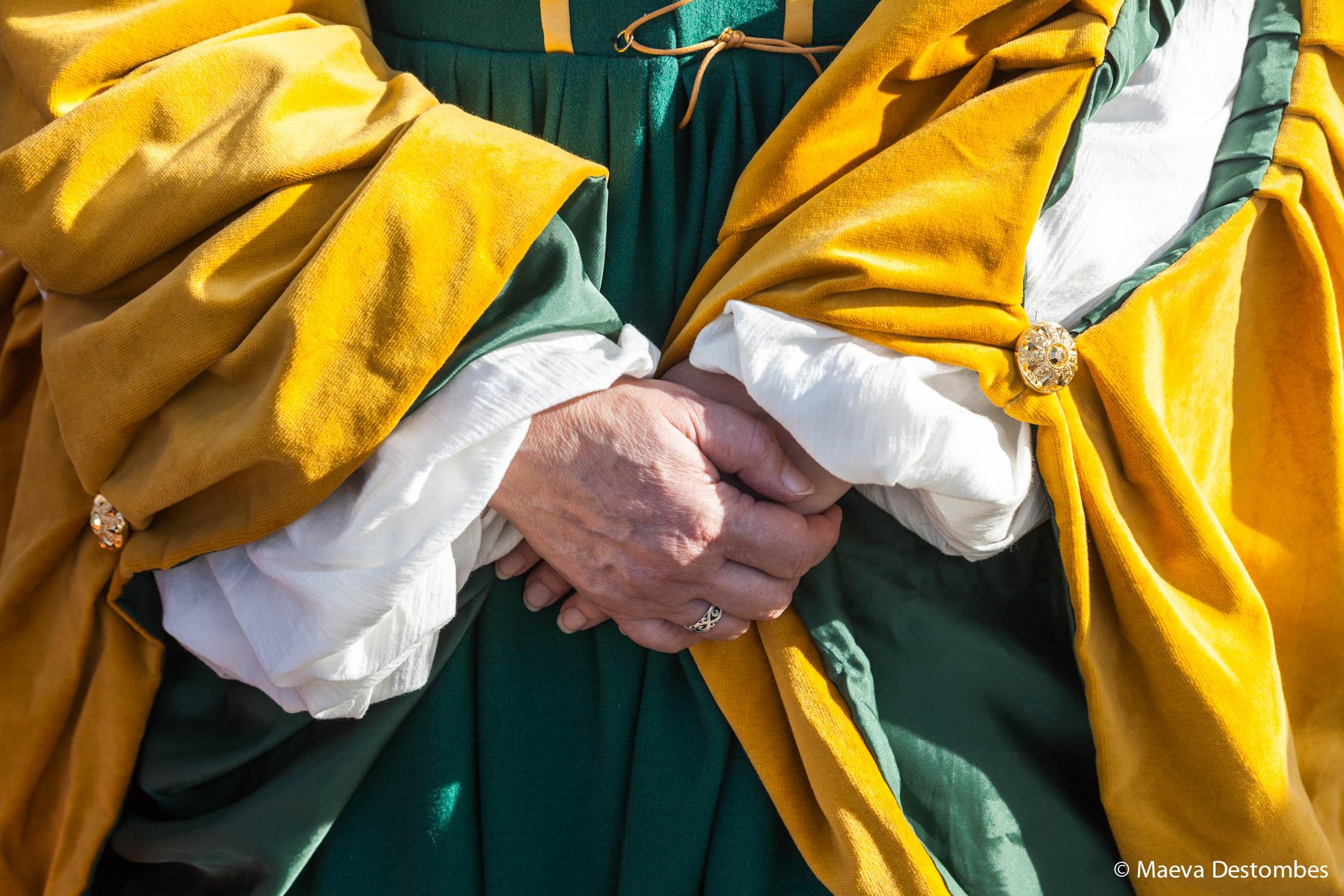 Détails d'un costume médiéval lors du carnaval de Venise